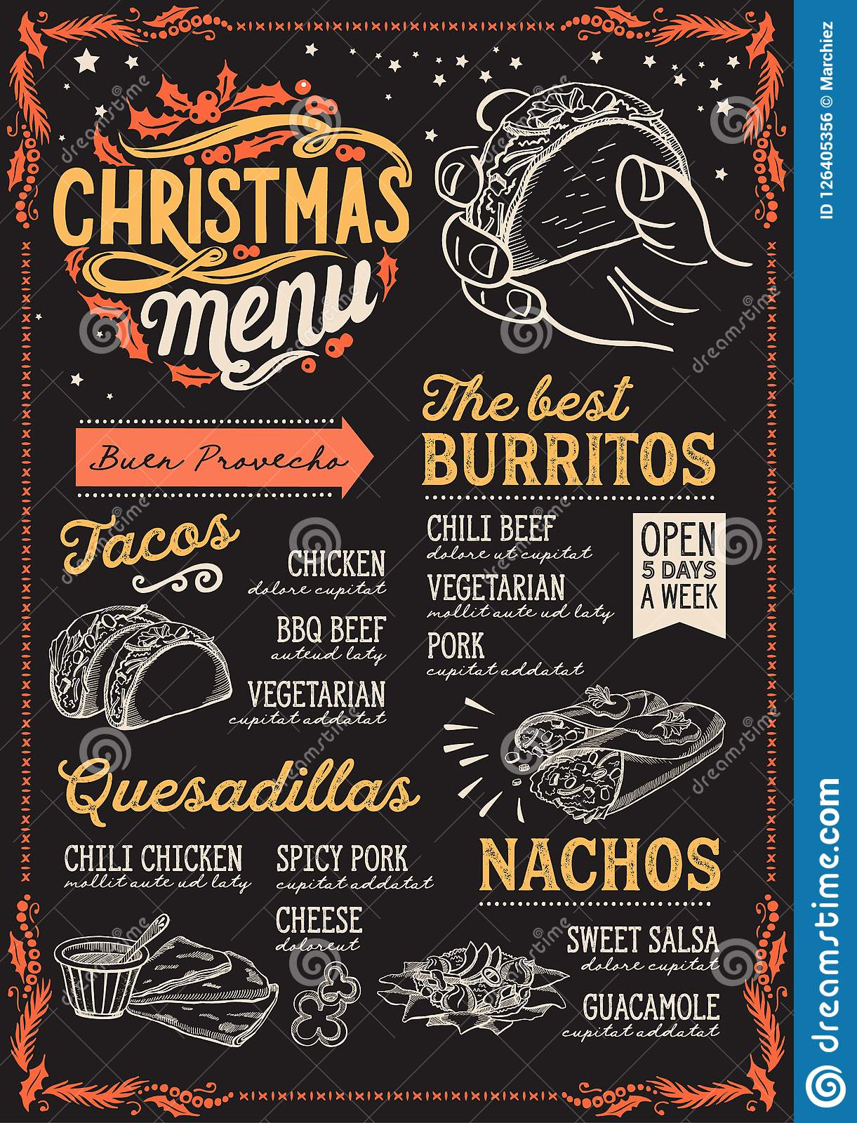 christmas menu template for mexican restaurant stock vector