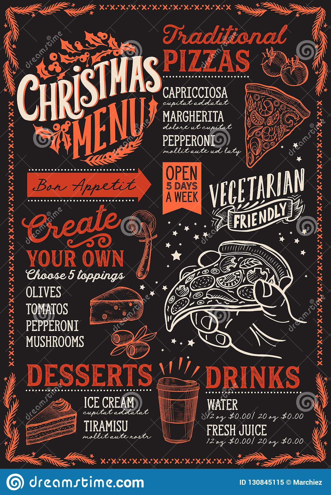 Pizza Places Open On Christmas.Christmas Menu Template For Pizza Restaurant On Blackboard