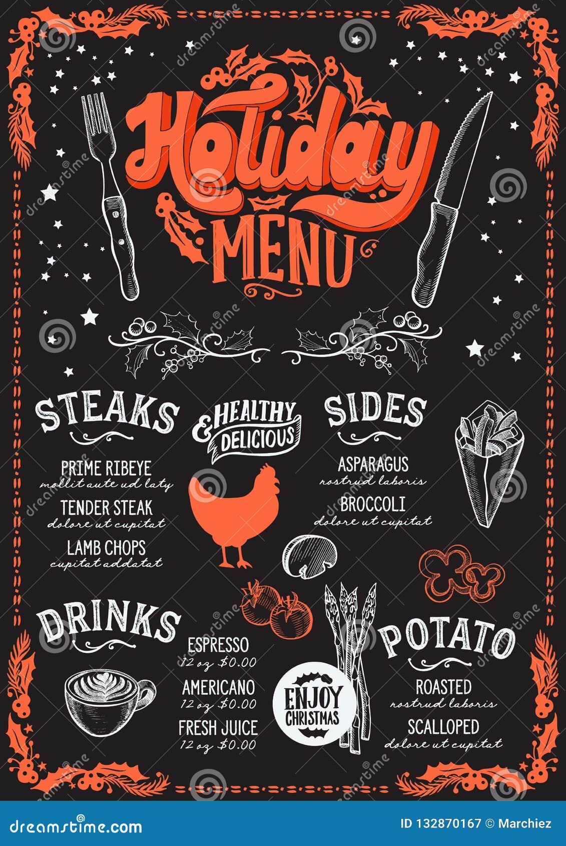 Christmas Restaurant Poster.Christmas Menu Template For Steak Restaurant Stock Vector