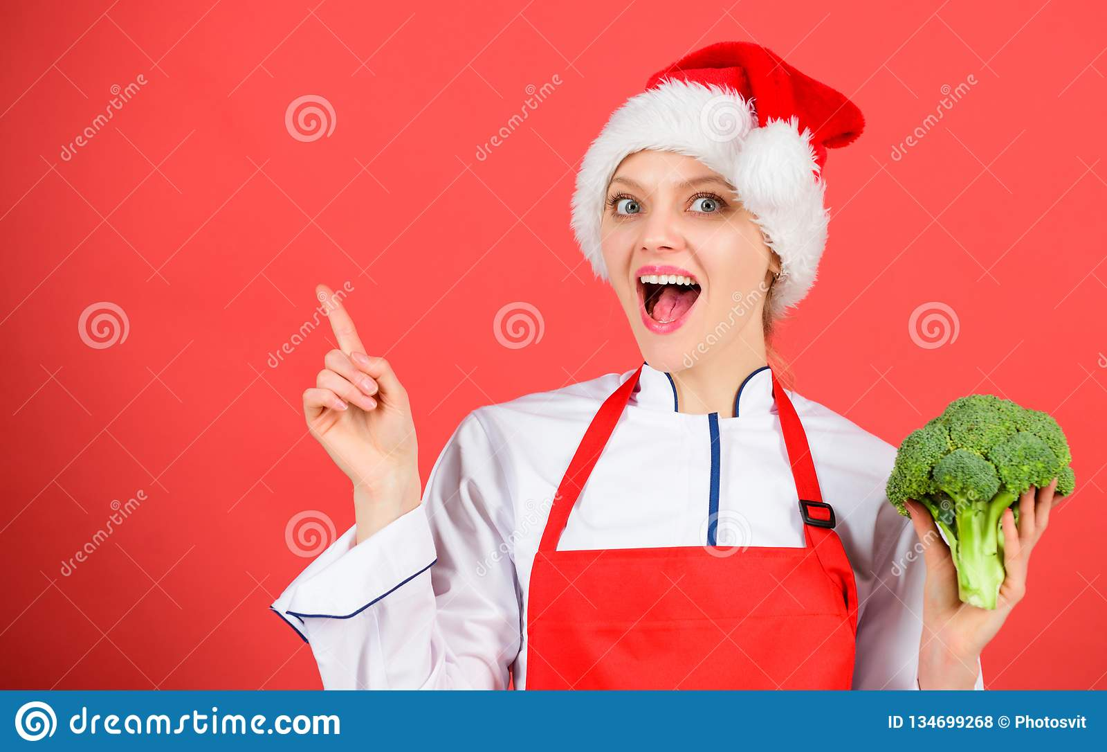 Christmas Menu Woman Chef Cooking Christmas Dinner Wear Santa Hat
