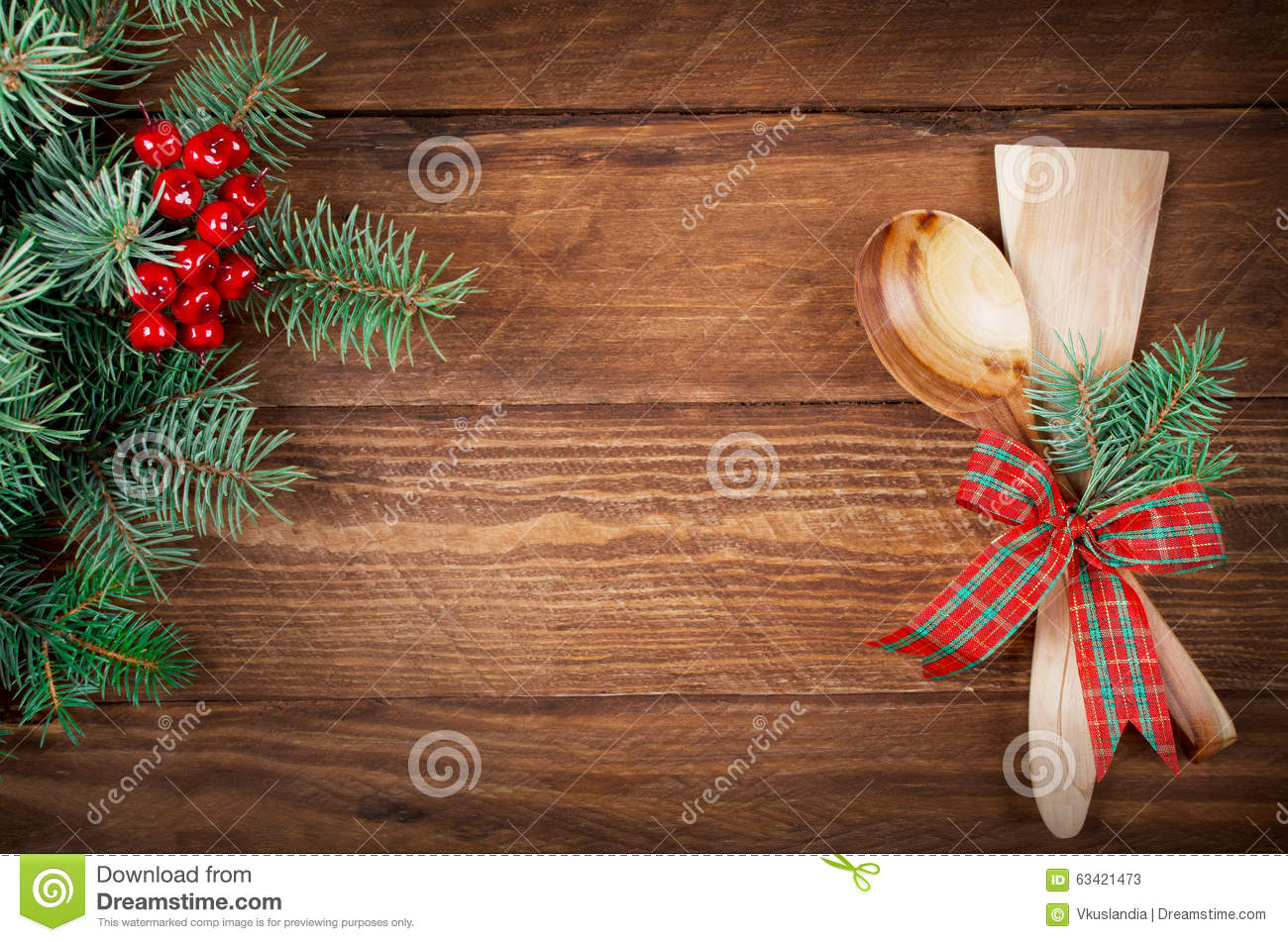 Christmas Menu On Wooden Background Top View Stock Photo