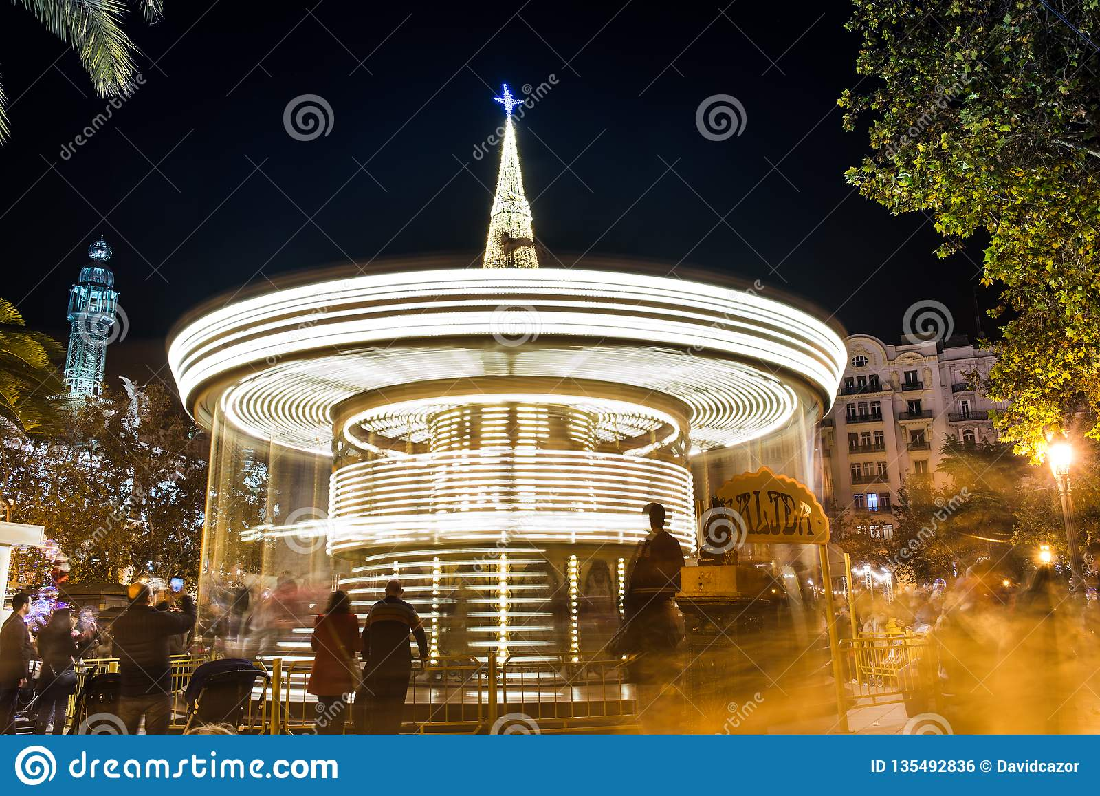 Christmas merry-go-round in the square