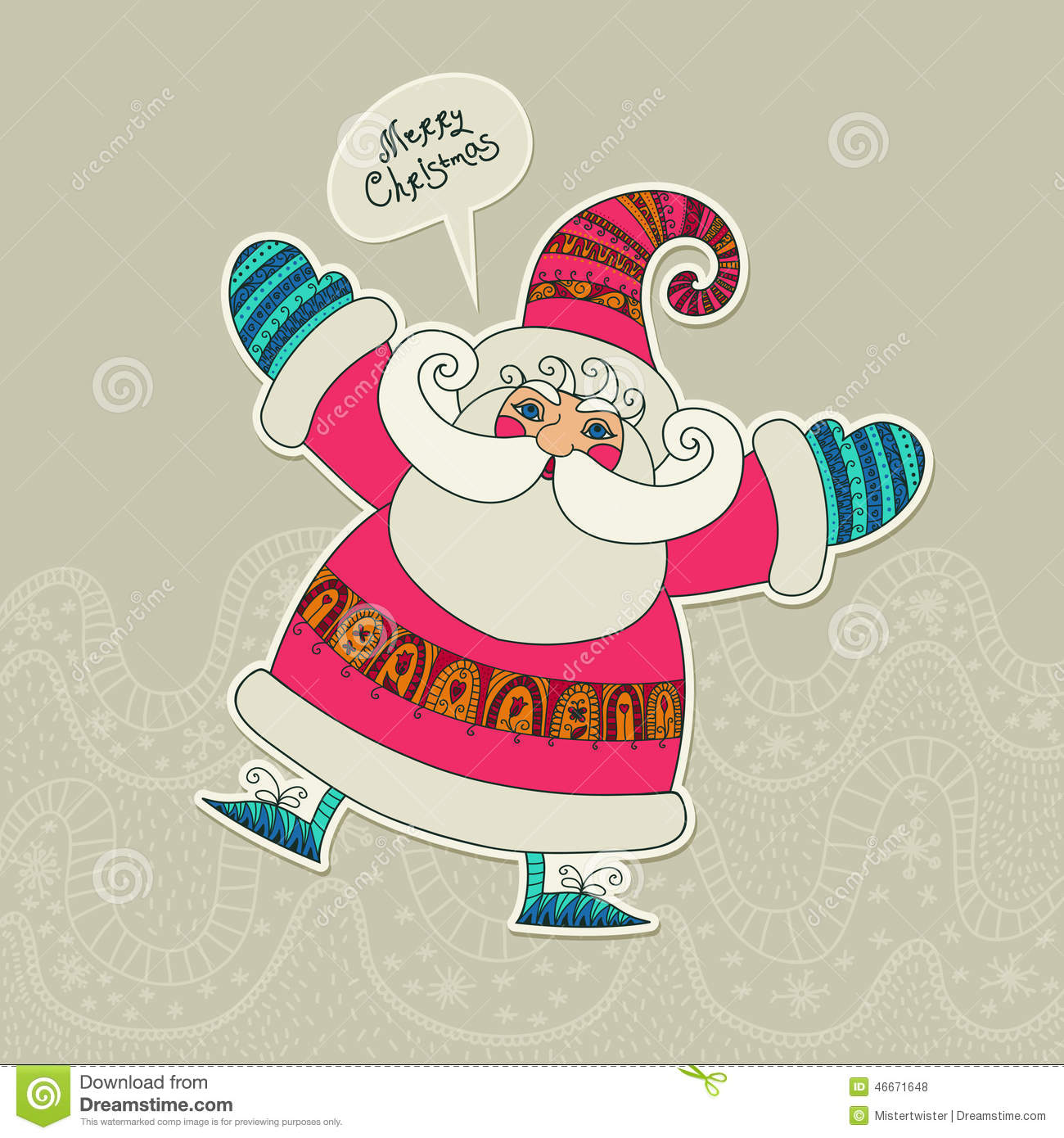 Christmas. Merry Xmas Vector Card With Funny Santa. Humor. Cute ...