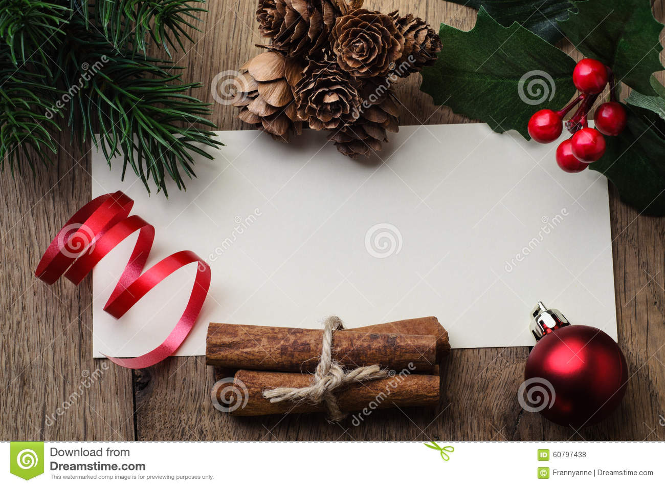 Christmas Message Background Bordered With Decorations And