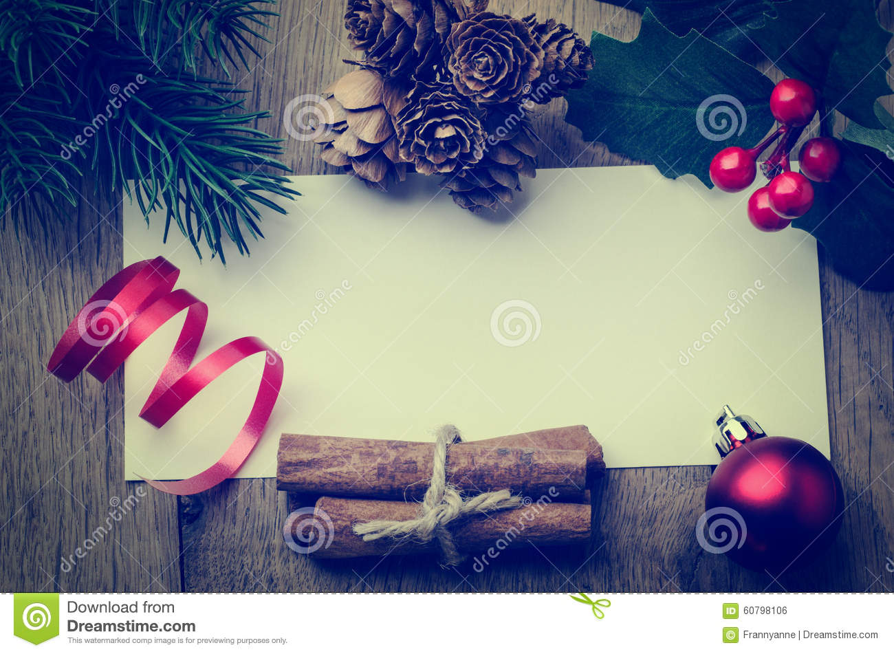 Christmas Message Background Bordered With Decorations