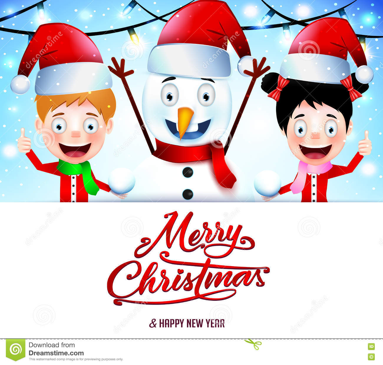 Christmas Message On White Background With Smiling Kids And Snowman ...