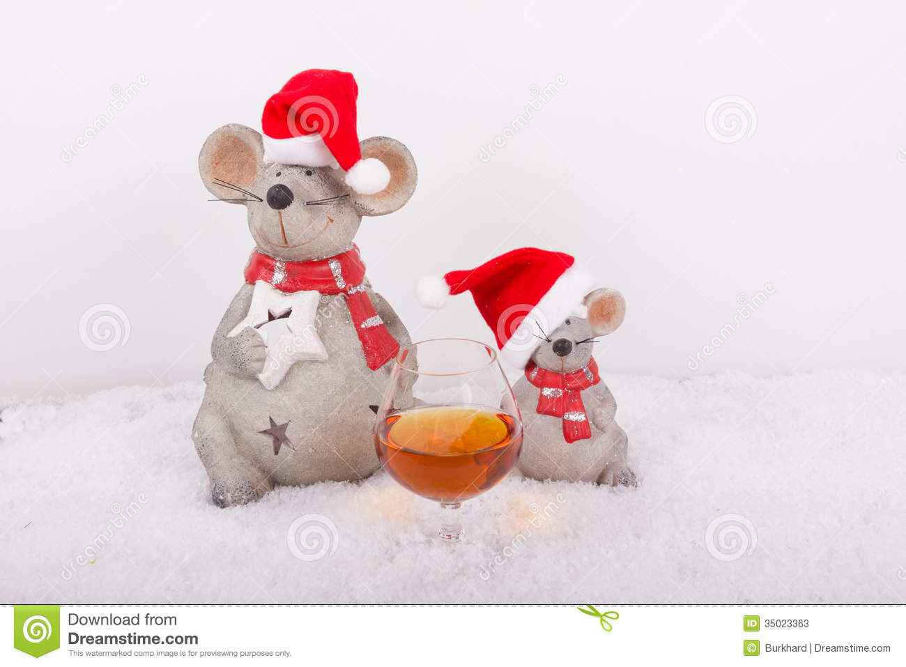 Christmas Mice With Cognac Glass In Snow Stock Photos - Image ...