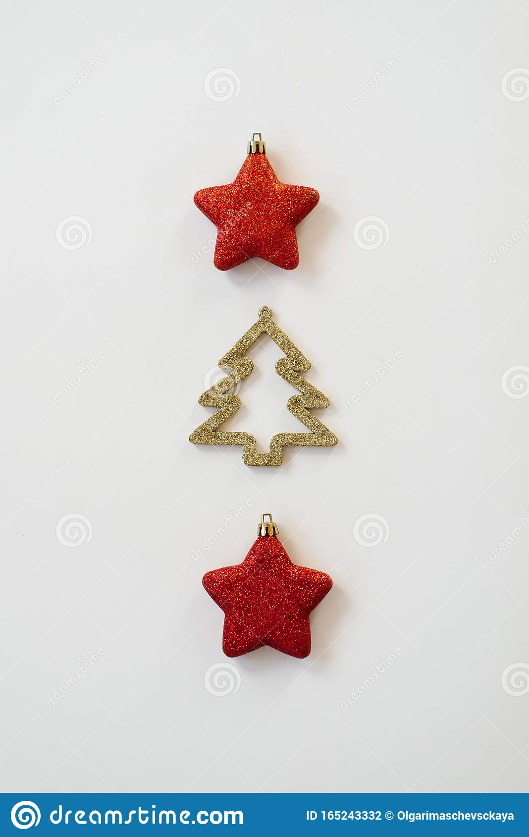 Christmas Minimalist Concept Christmas Tree With Gold Sequins And Red Toy Christmas Stars Design Template Merry Christmas Backgr Stock Photo Image Of Background Stars 165243332
