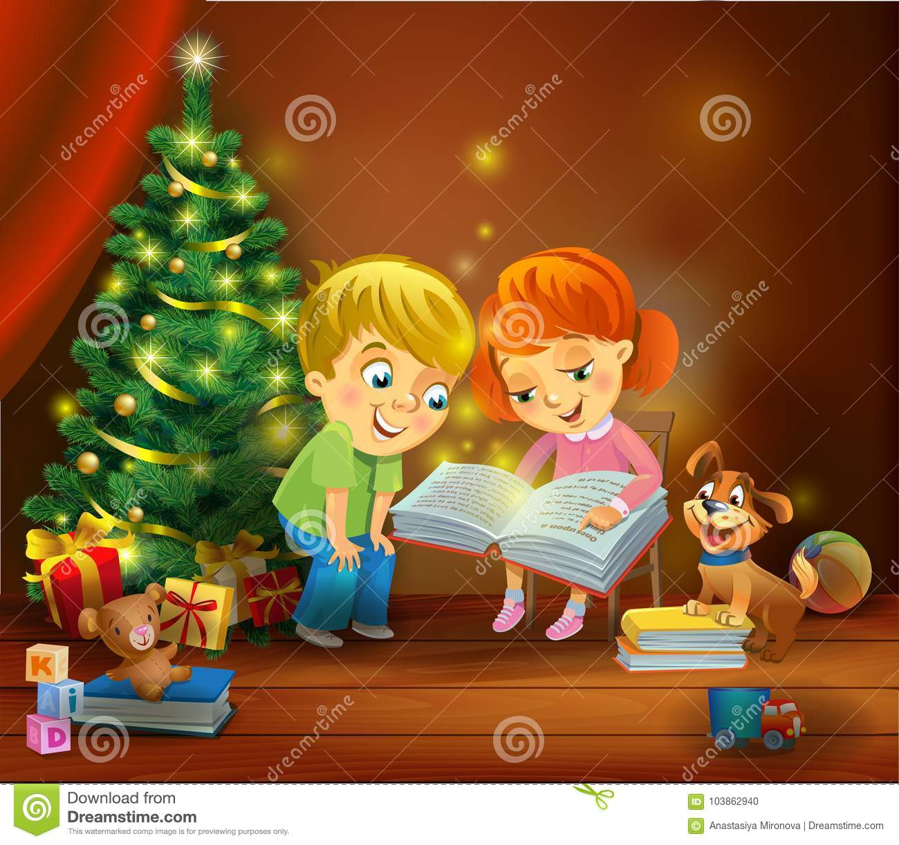 A Christmas Miracle.Christmas Miracle Kids Reading The Book Beside A Christmas
