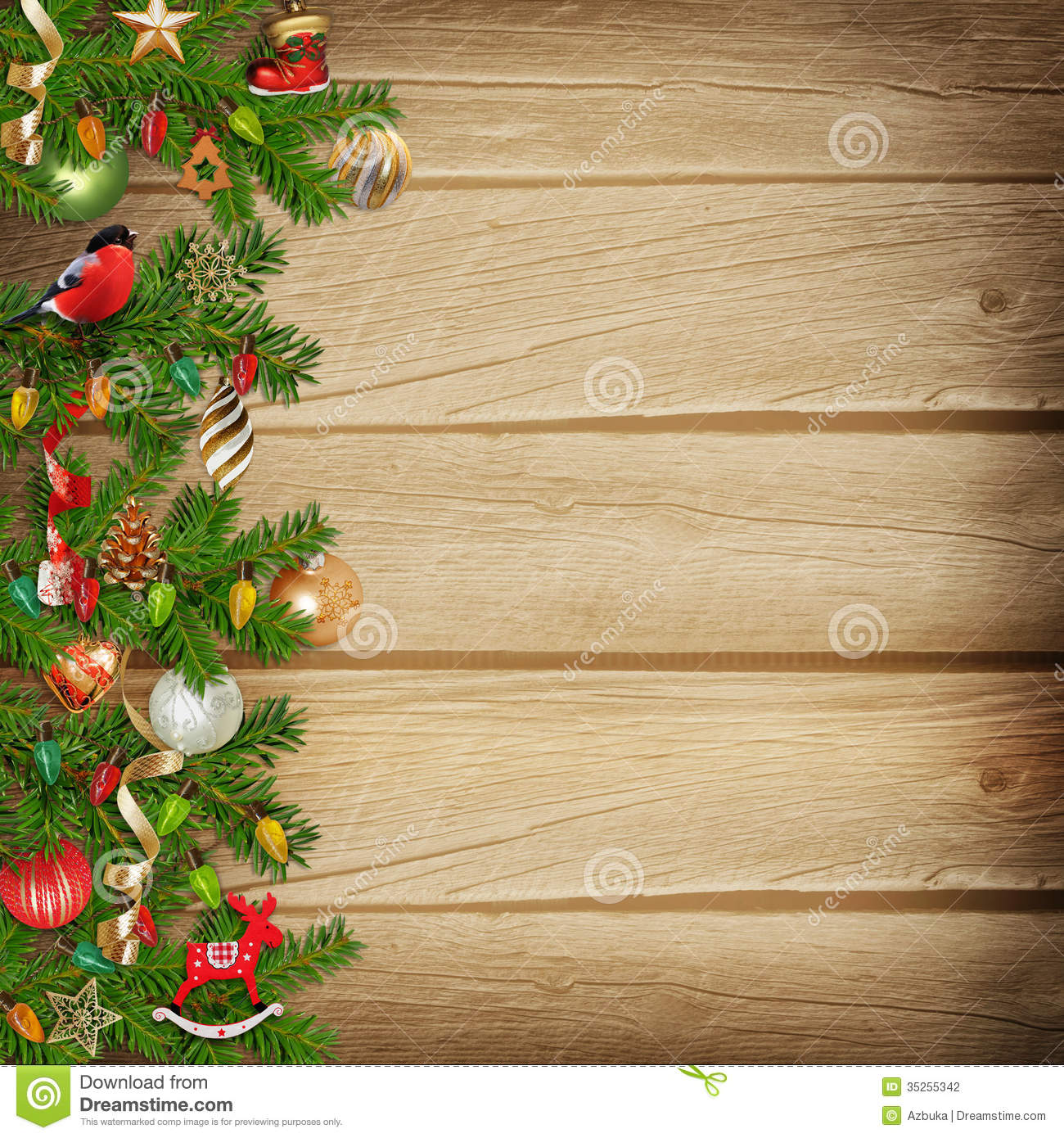 Christmas miraculous garland on a wooden background stock