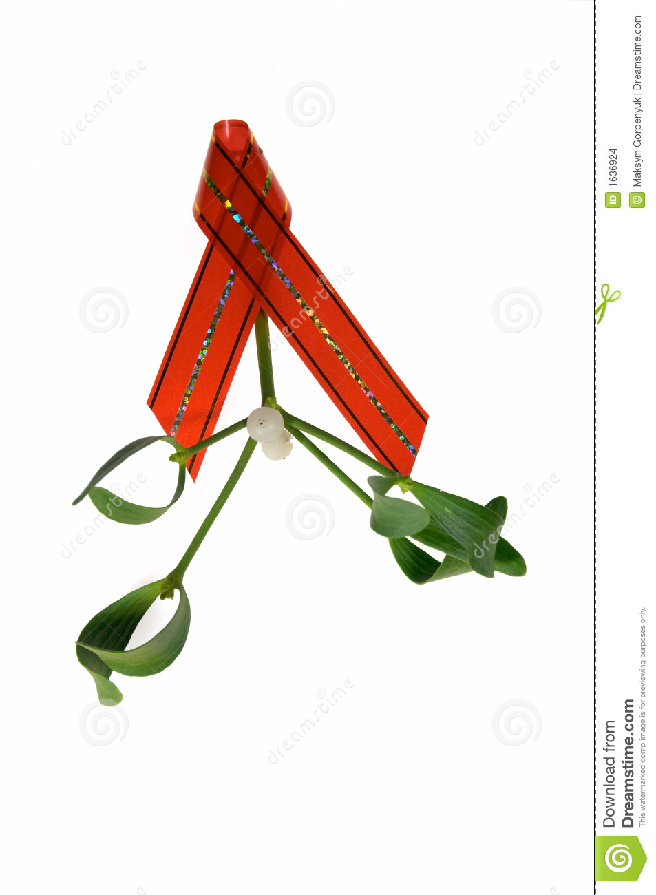 Christmas Mistletoe With A Red Ribbon Stock Photo - Image of ...