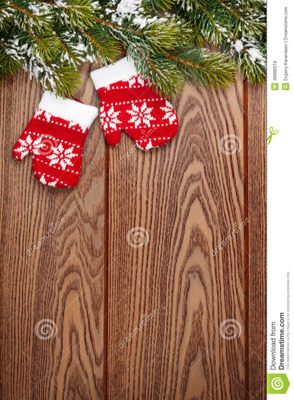 Christmas Wooden Background With Snow Fir Tree And Decor ...