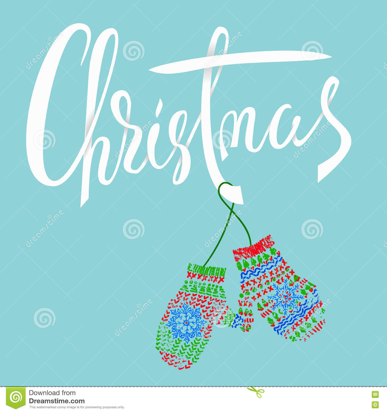 Christmas modern calligraphy for cards and