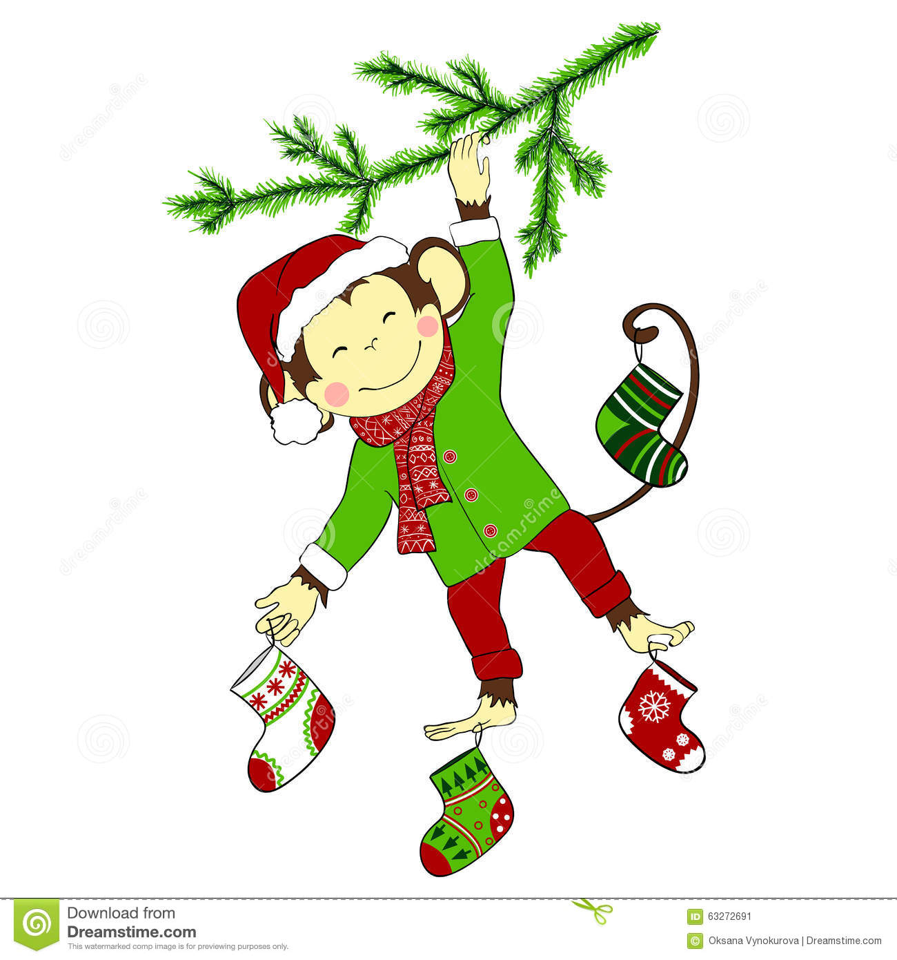 Cartoon Character Design Price : Christmas monkey hanging on tree and holding