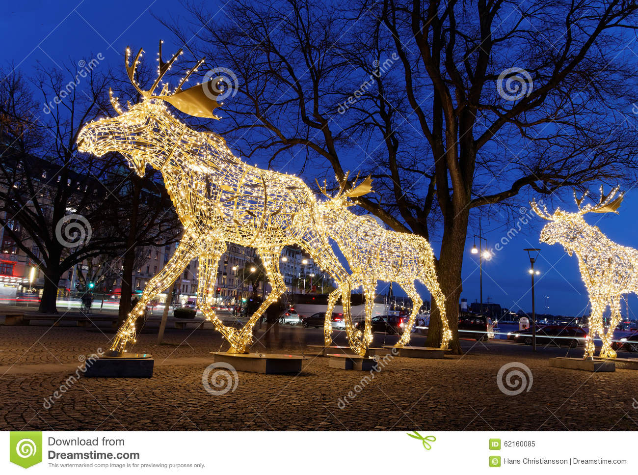 Christmas Moose Floc Made Of Led Light Stock Image Image