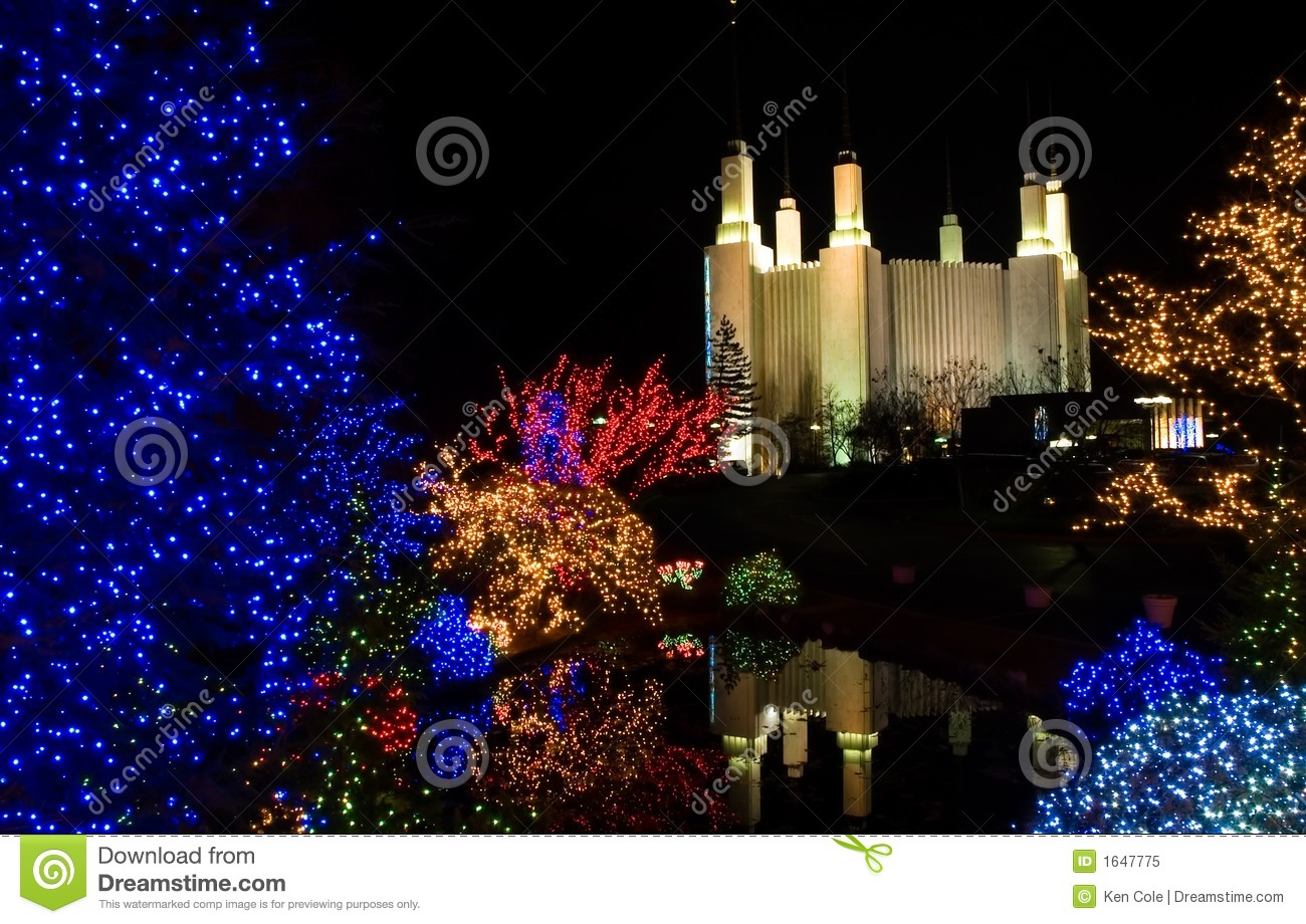 Christmas at Mormon Temple stock image. Image of architecture - 1647775