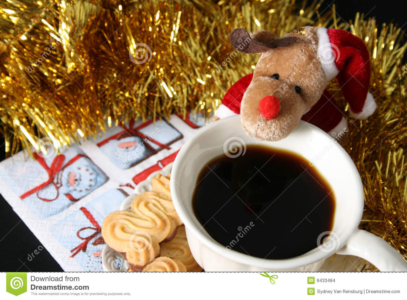 Christmas morning coffee with chocolate shortcake biscuits