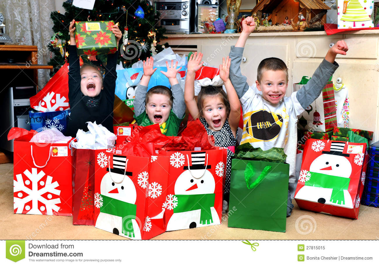Christmas Morning Excitement Stock Image - Image of female, holding ...