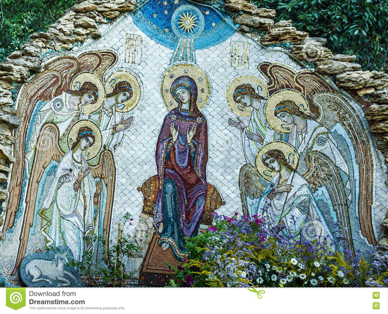 Christmas Mosaic Icon Of Virgin Mary With Angels In Orthodox