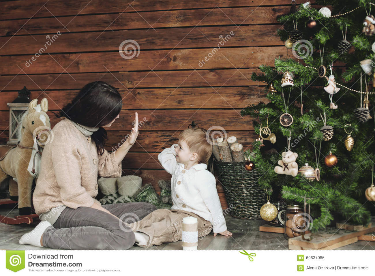 Christmas stock photo. Image of home, clothing, playing - 60637086