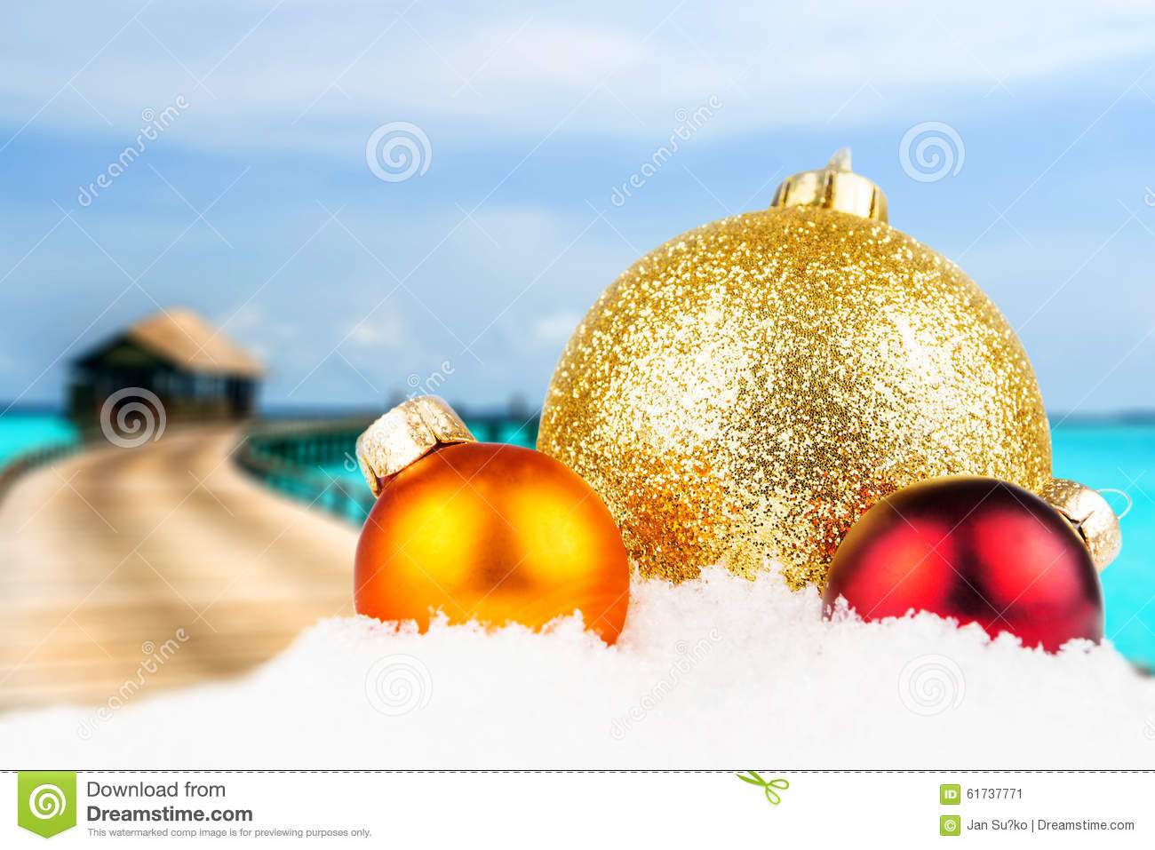 Island Christmas Theme.Christmas Motivated Front With Blurred Tropical Island Stock