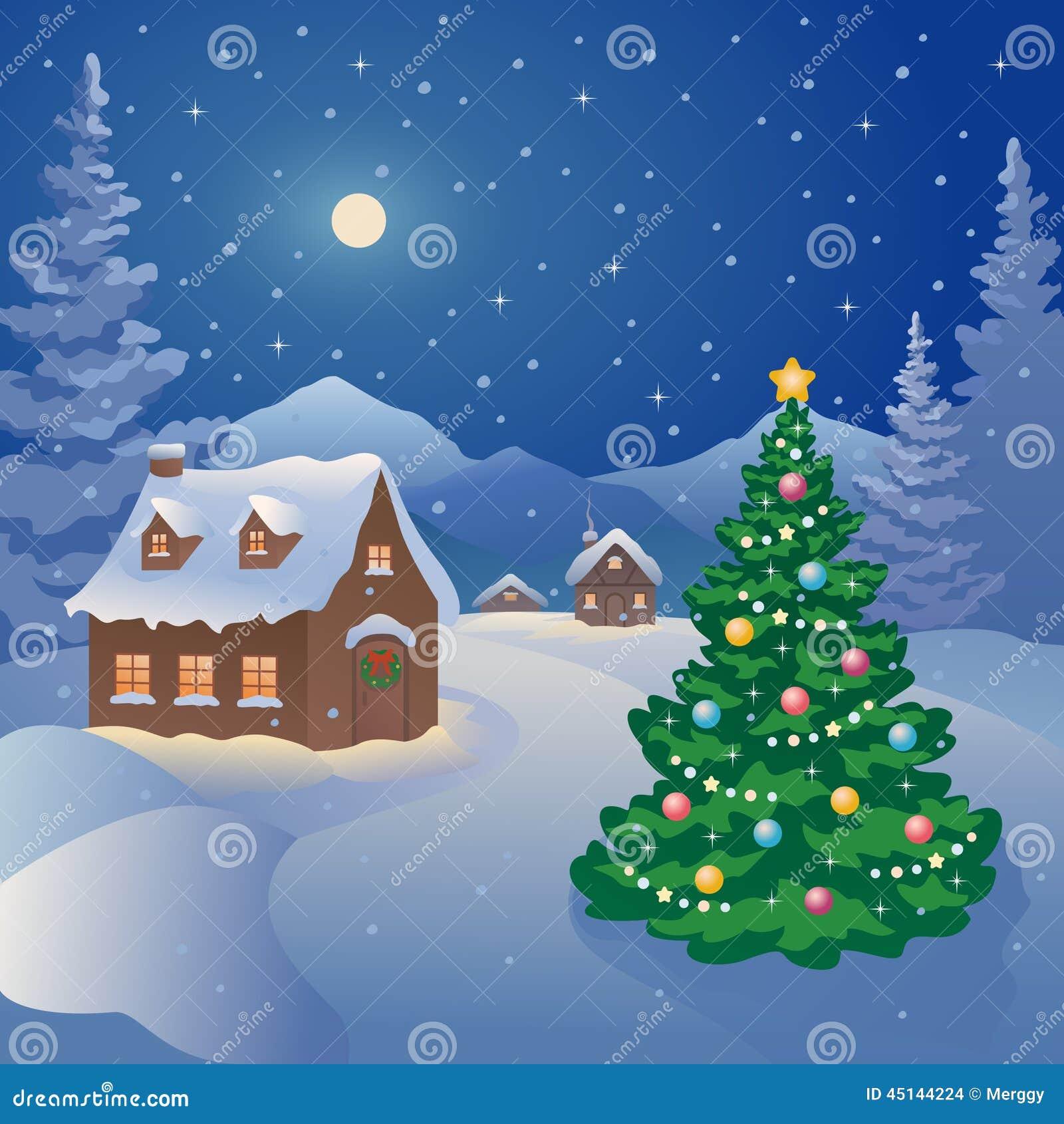 Christmas Mountain Village Stock Vector Image 45144224
