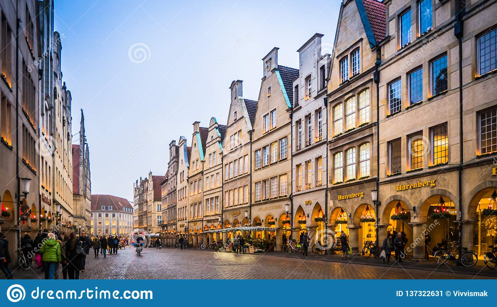 Christmas street decorations in Muenster, Germany