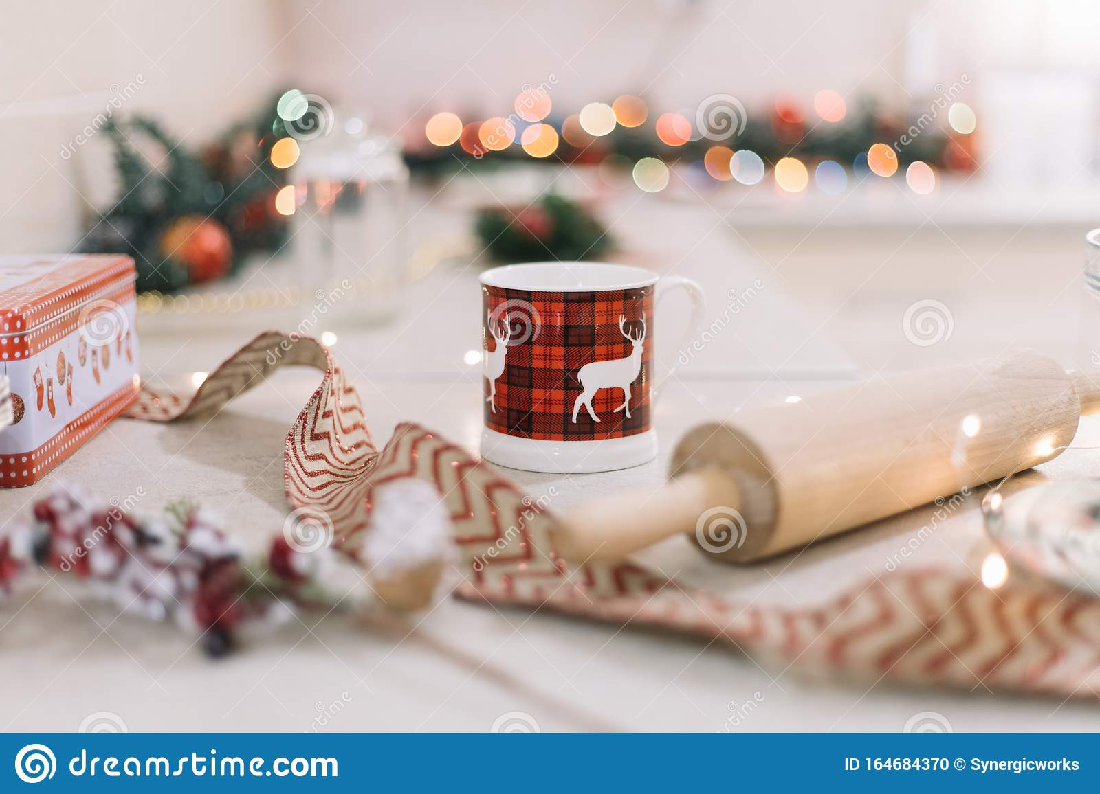 Christmas Mug On Kitchen Counter With Rolling Pin Stock Photo Image Of Cook Happy 164684370