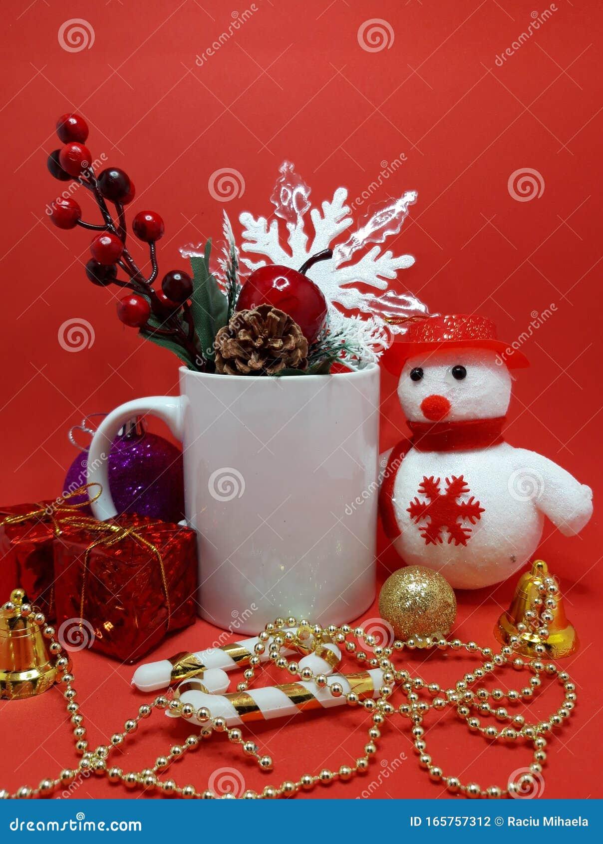 Christmas Mug Mockup With Red Background Stock Photo Image Of Decoration Christmas 165757312