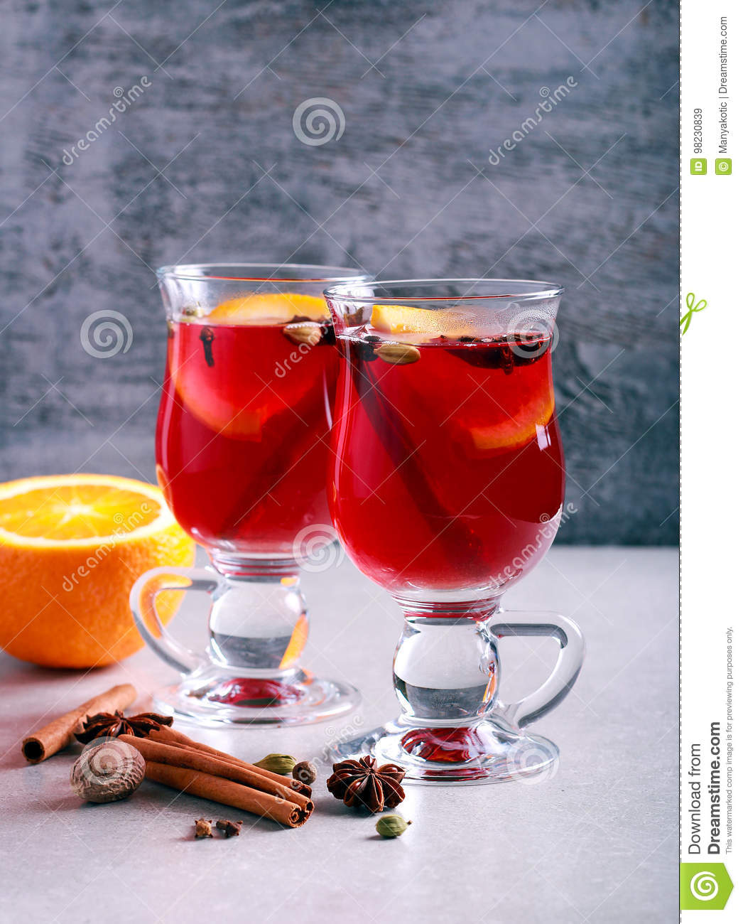 Christmas Mulled Wine Or Gluhwein With Spices Stock Image