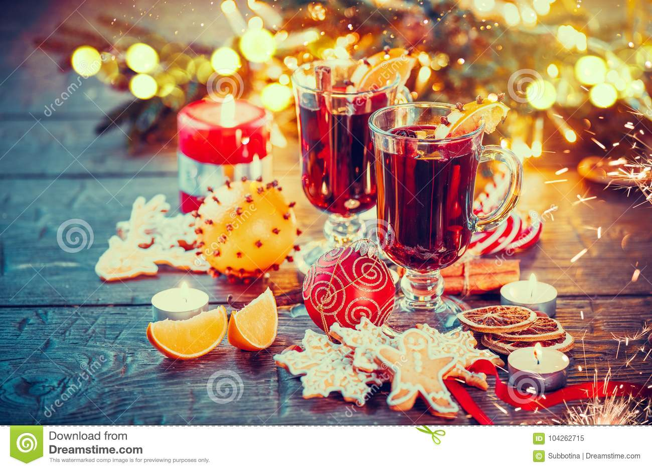 Christmas mulled wine on holiday decorated table