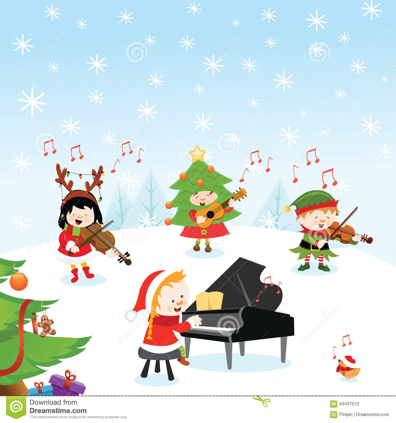 Christmas Music stock vector. Illustration of instruments - 63437573