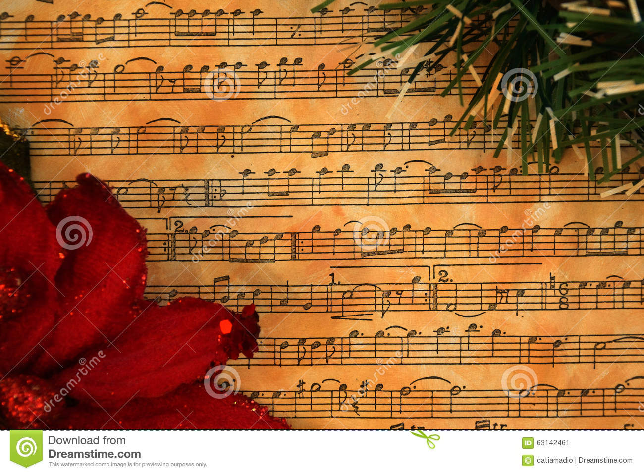 Christmas Music Vintage Background Stock Photo - Image: 63142461
