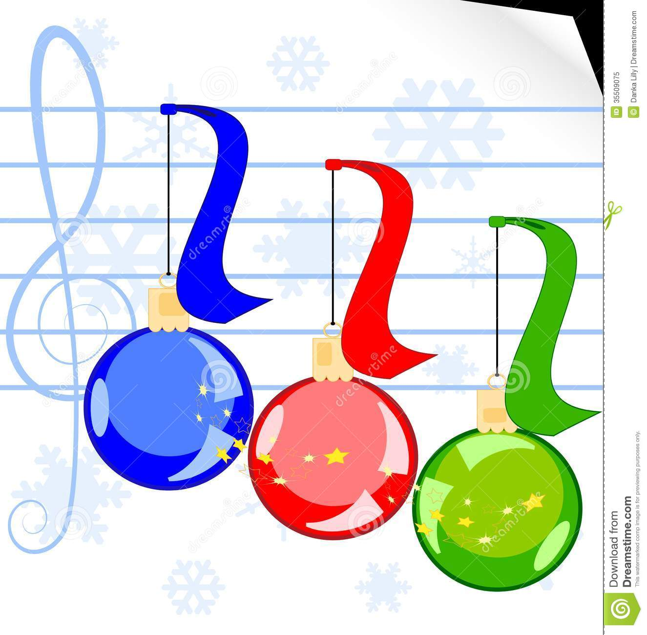 On a white sheet of music paper there are a three Christmas balls.