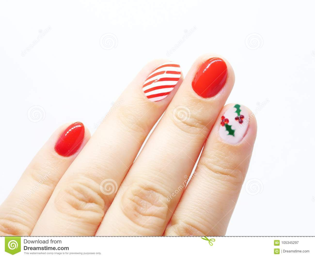 Christmas Nail Art With White And Red Stripes And Mistletoe Leaves