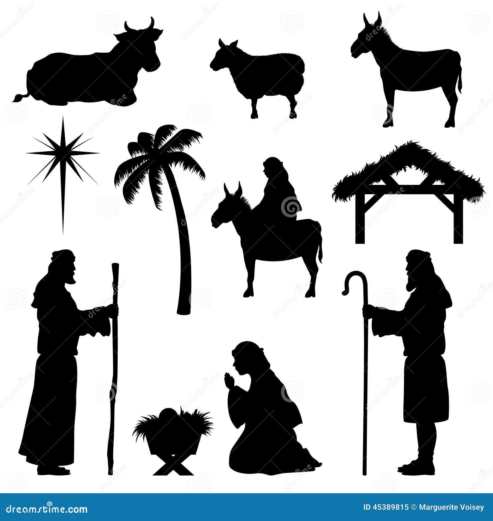 christmas nativity iconsshepherd stock vector image