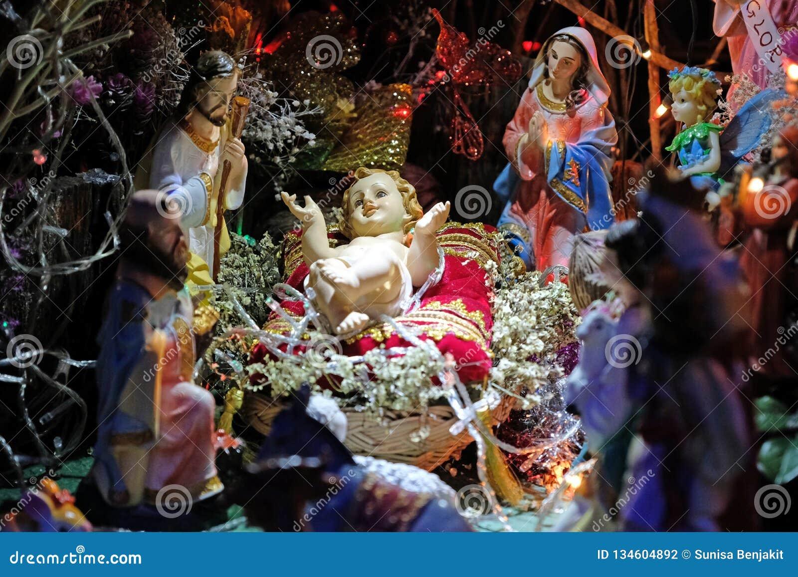 Jesus Christmas Pic.Christmas Nativity Scene With Baby Jesus Stock Photo
