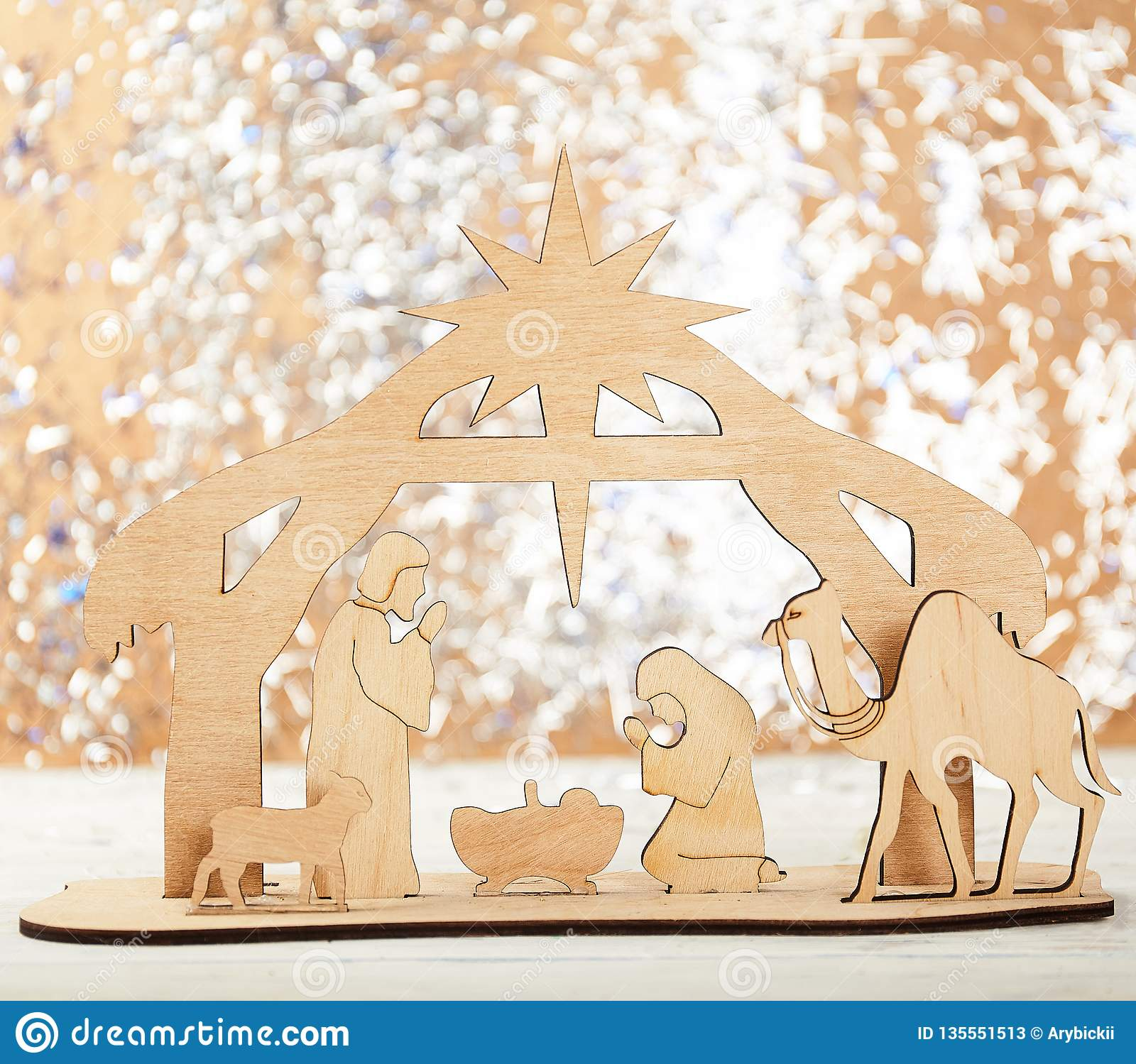 Christmas Nativity Scene of baby Jesus in the manger with Mary and Joseph