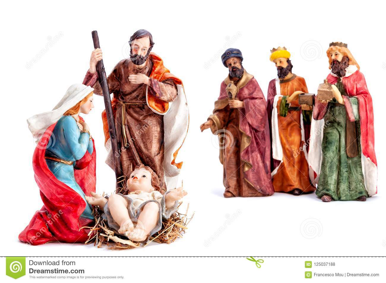 Christmas nativity scene with the Holy Family and the three wise men, isolated on white background