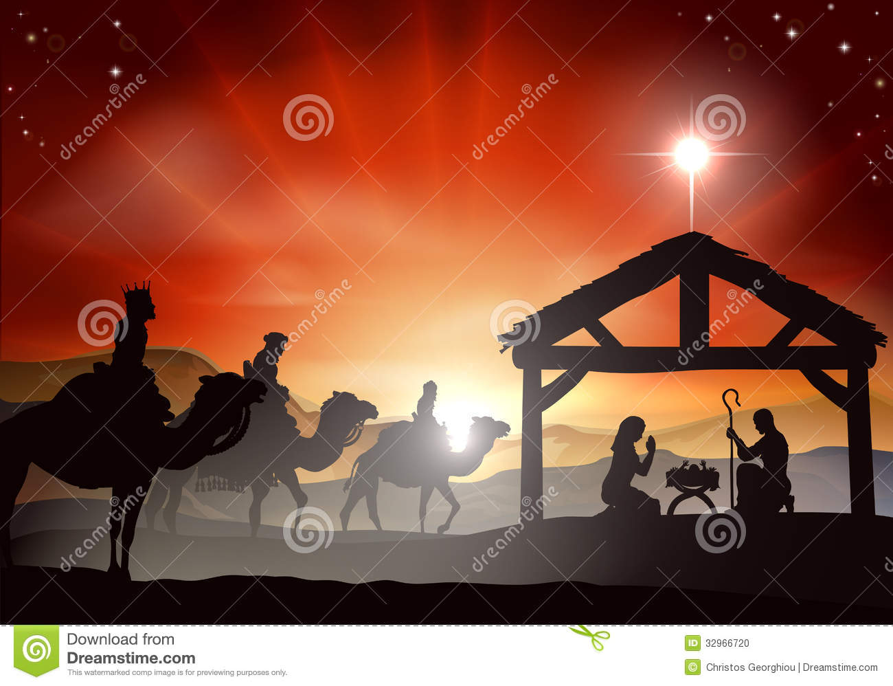 ... manger in silhouette, three wise men or kings and star of Bethlehem