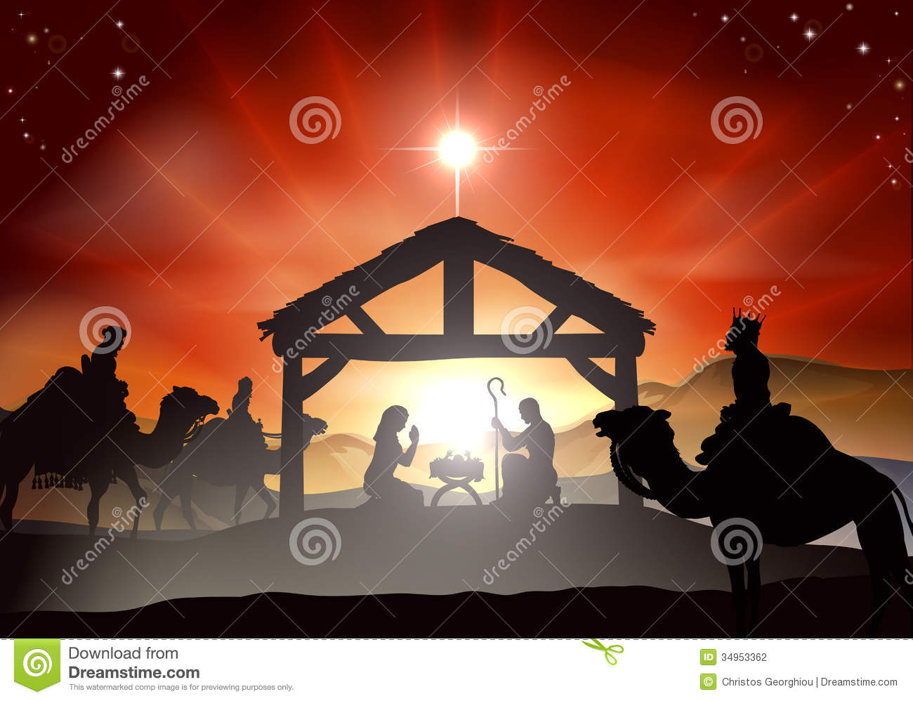 manger in silhouette, three wise men or kings and star of Bethlehem ...