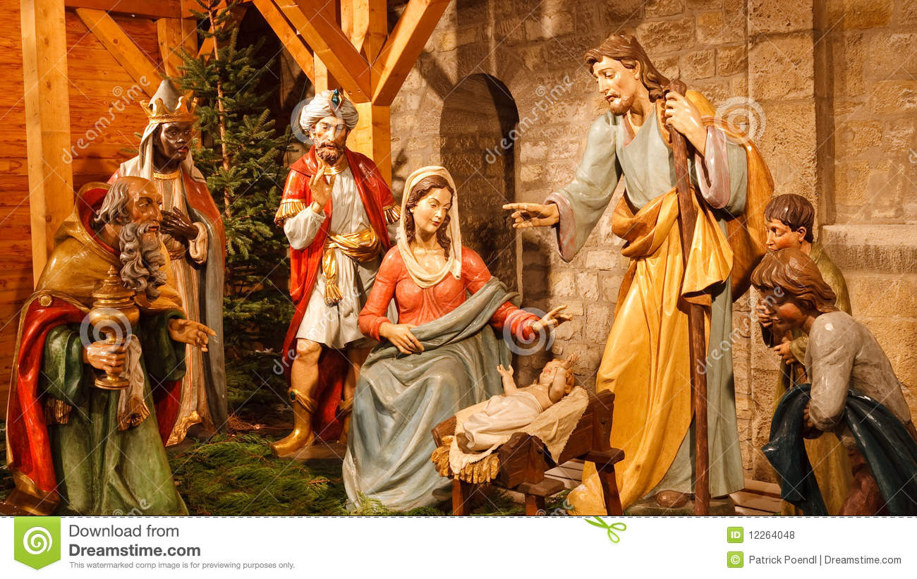 Christmas Nativity Scene: Baby Jesus, Mary, Joseph Royalty Free Stock ...