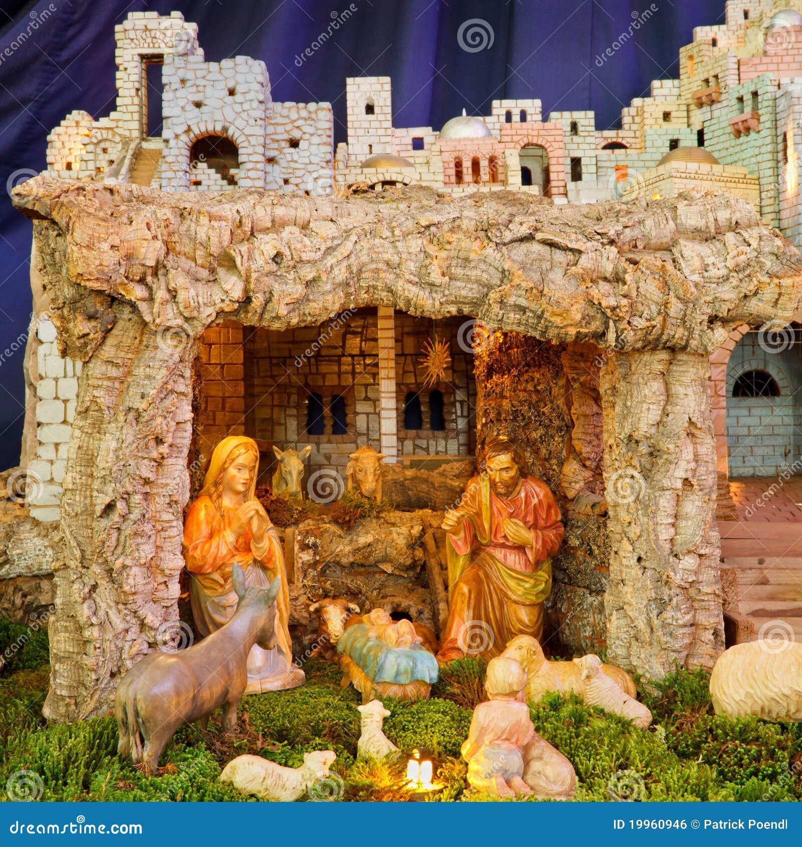 Christmas Nativity Scene Baby Jesus Mary Joseph Stock