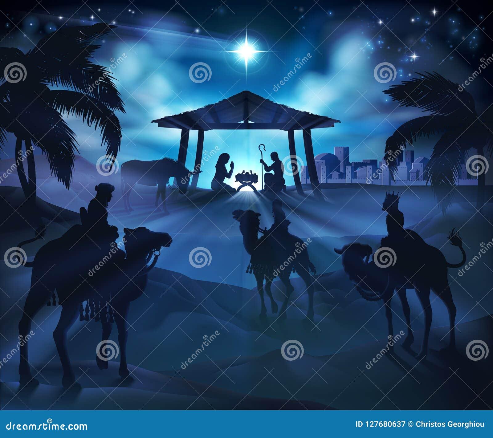 Christmas Nativity Scene Stock Vector Illustration Of Illustration