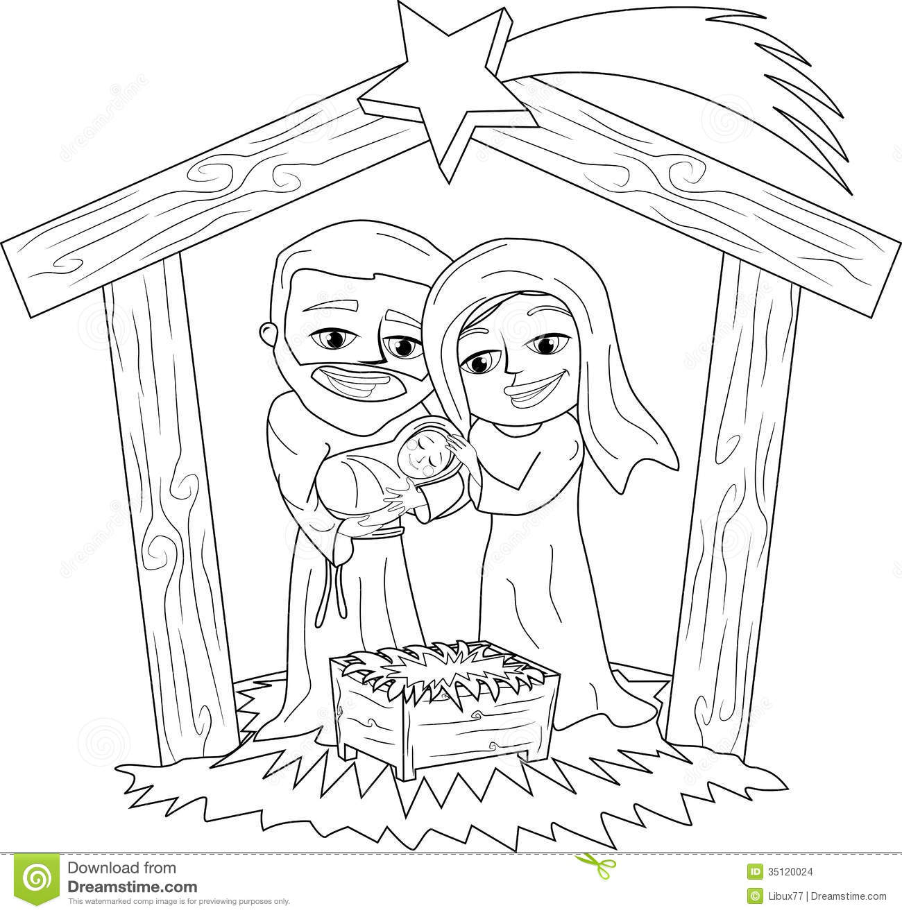 Christmas Nativity Scene Coloring Page Stock Vector - Illustration ...