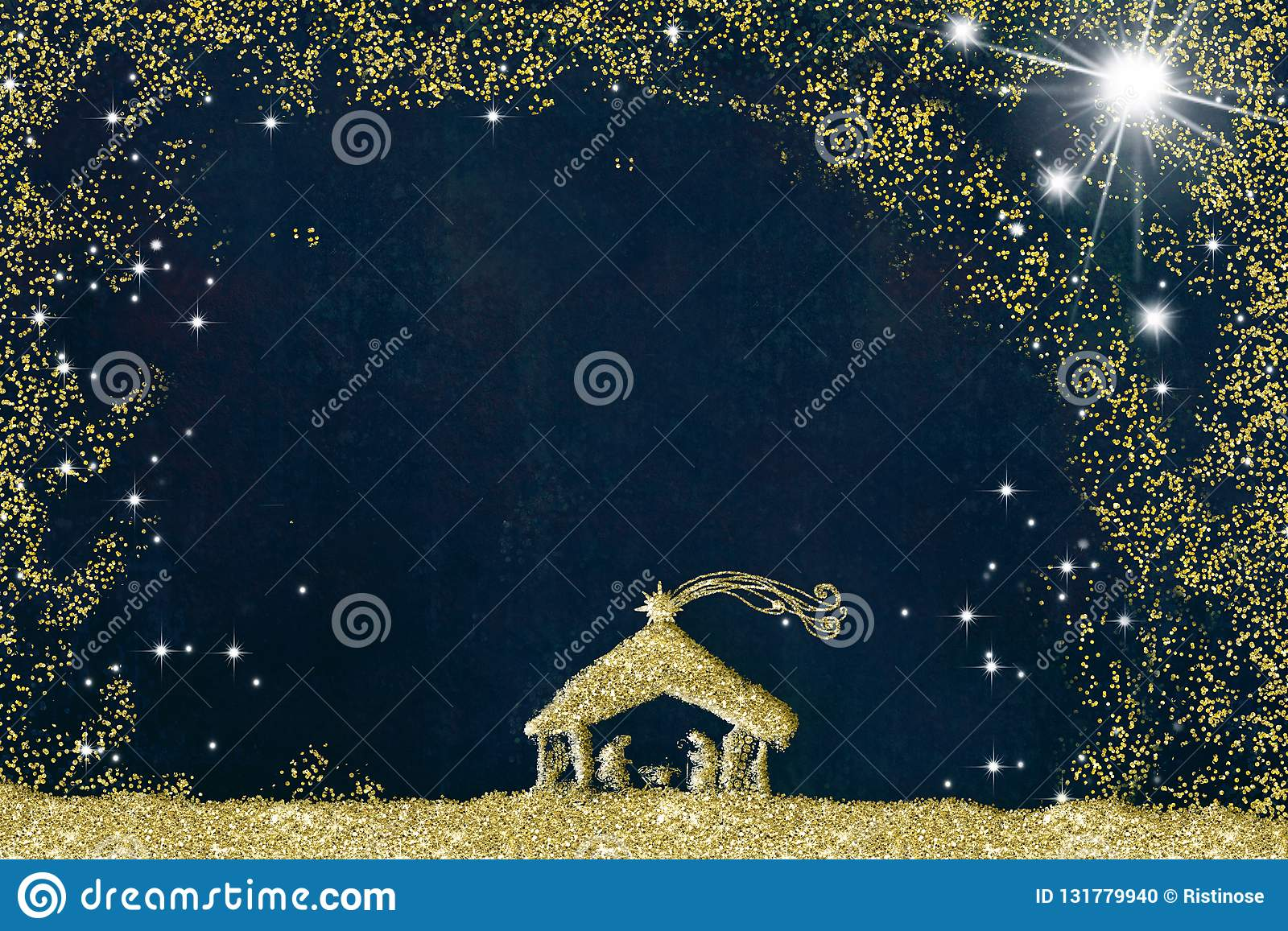 Christmas Nativity Scene Greetings Cards Abstract Freehand Drawing