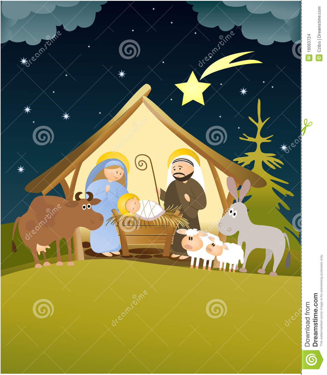 Christmas Nativity Scene With Holy Family Stock Images ...