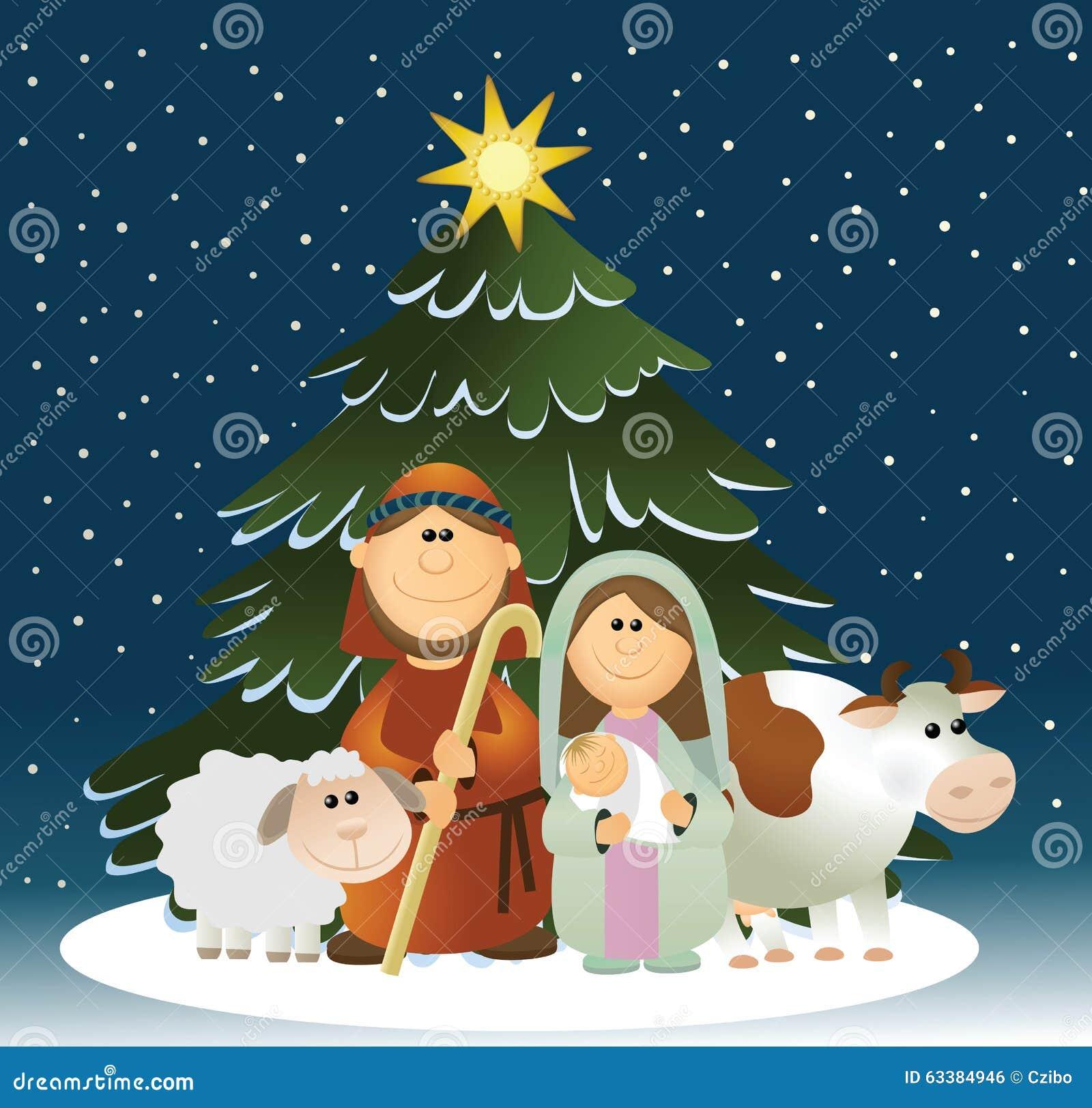 Christmas nativity scene with holy family stock vector