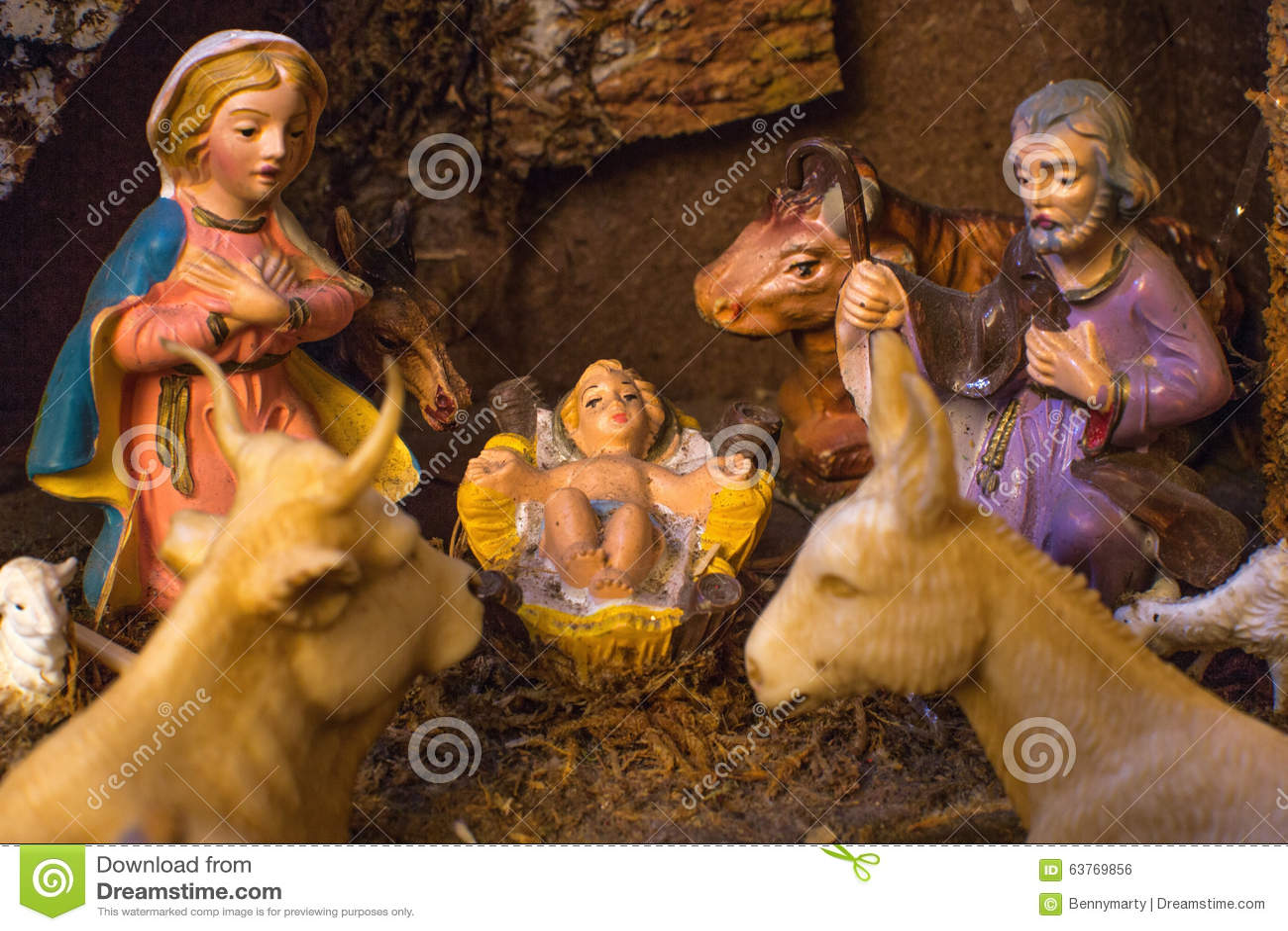 Christmas Nativity scene stock photo. Image of crib ...