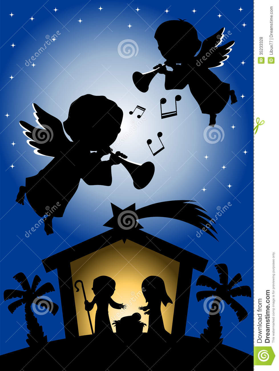 christmas nativity scene silhouette with angels royalty free stock